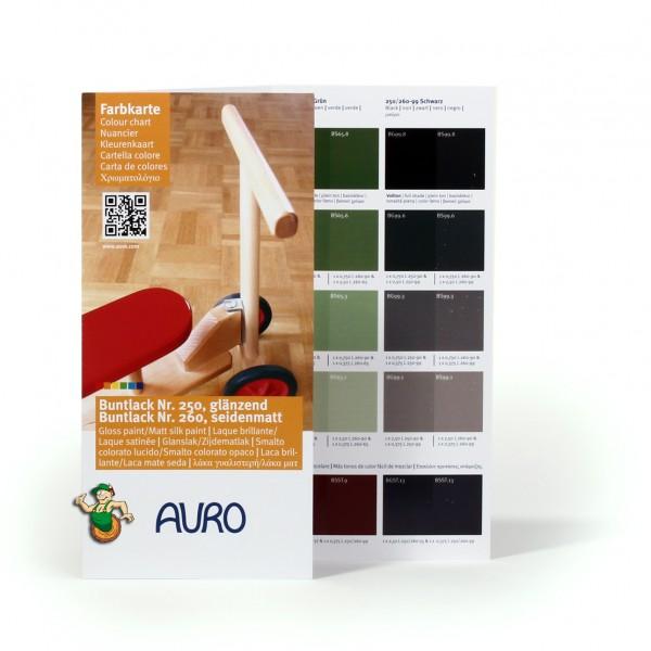 Farbkarte klein Buntlack 250 glänzend und Nr. 260 seidenmatt