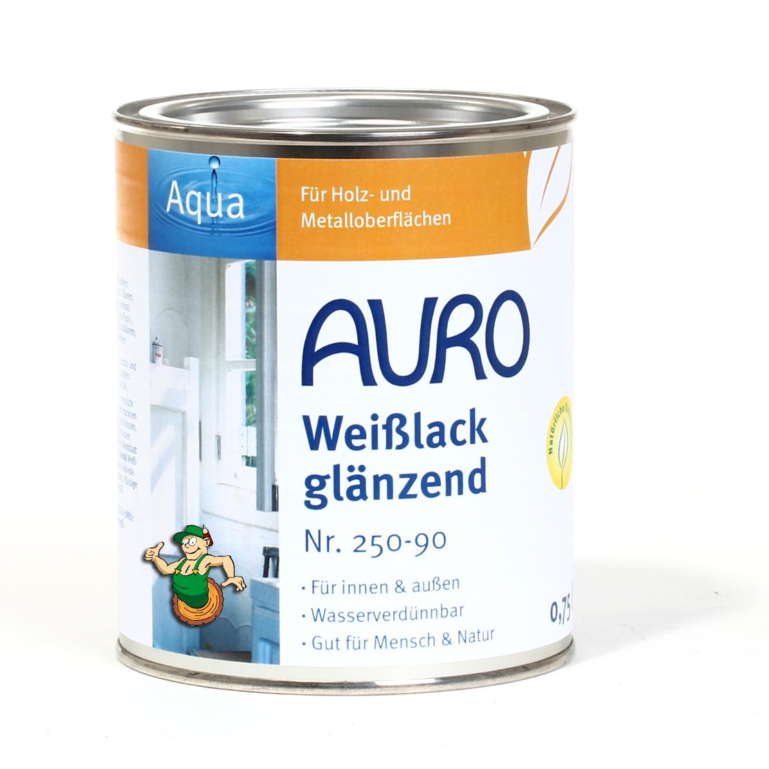 auro buntlack, glänzend, nr. 250 weißlack, aqua, innen- und