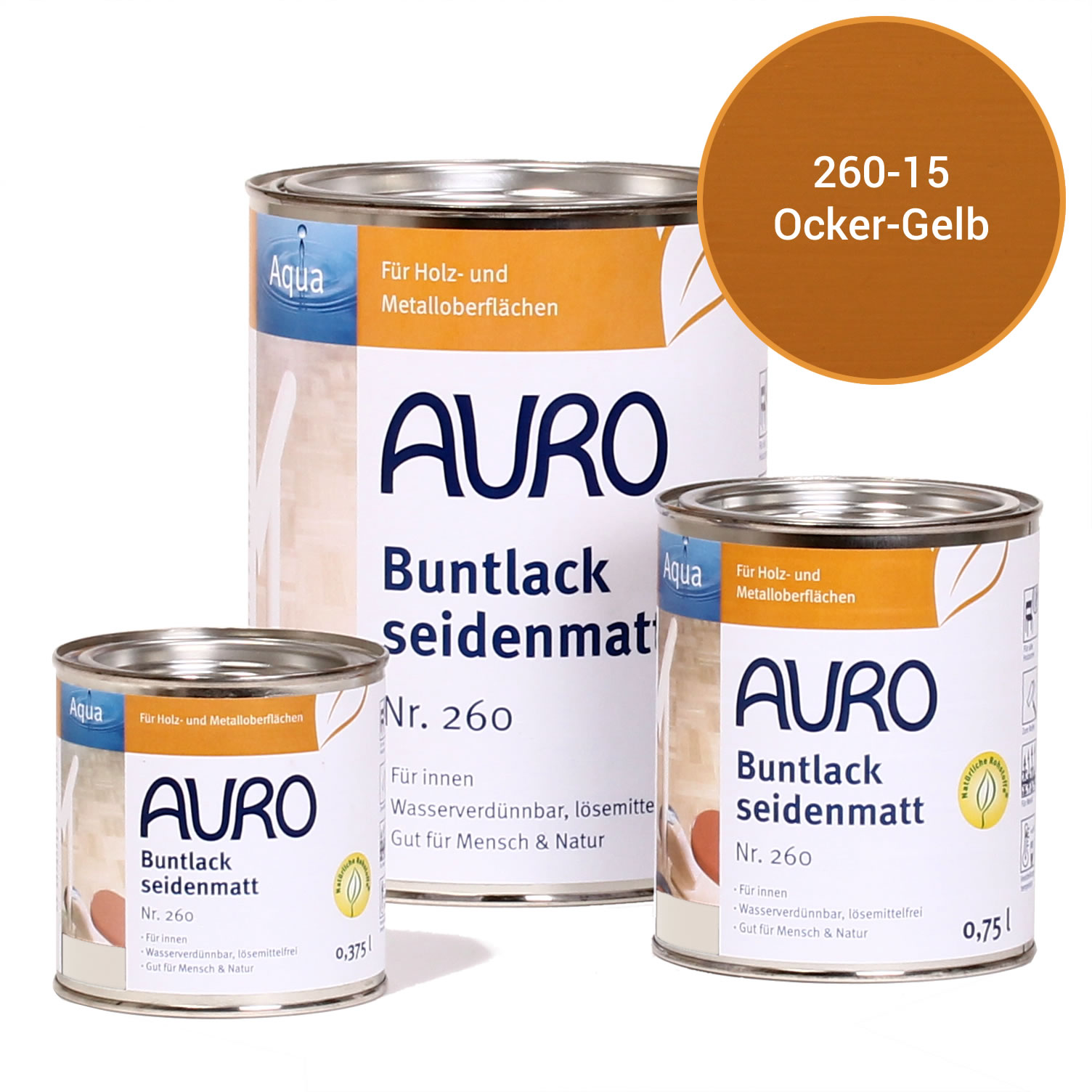 auro buntlack, seidenmatt nr. 260 ocker-gelb   auro shop